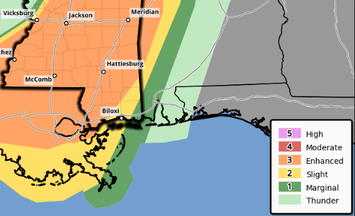 Timeline Severe Threat Overnight For South Mississippi - Map of south mississippi