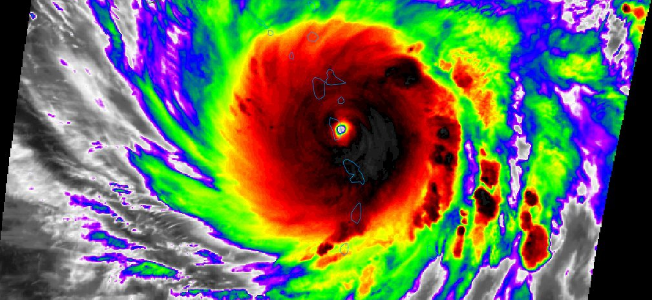 Hurricane Maria, now Category 5 storm, hits Dominica head on